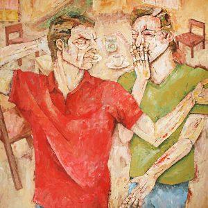 reza razm, expressionism, medium, 2018, figurative, plastic paint
