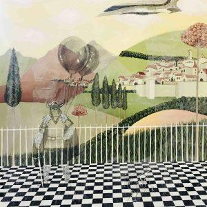 Roxana Manouchehri, Fantasy 3, acrylic on wooden panel and mixed media on rice paper, 80x60 cm, 2020