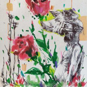 saeed nodehi, mixed media, figurative, surreal, 2016,