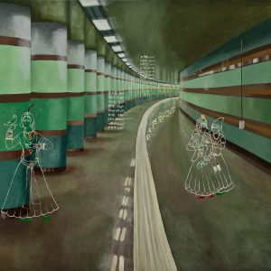 Roxana manouchehri, Seoul subway, 150 x190 cm, acrylic on canvas, 2008