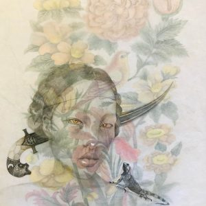 roxana manoucherhri, Dagger, 70x 50 cm Colour pencil and ink on two layers of rice paper, 2019