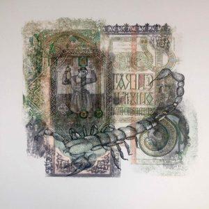 Roxana Manouchehri, Scorpion, mixed media on rice paper, 40x40 cm, 2018