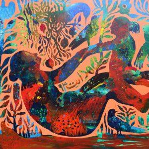 Reza Hedayat, expressionism, large, acrylic, 2015