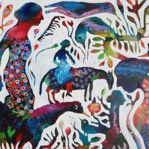 Reza Hedayat, expressionism, large, acrylic, 2011