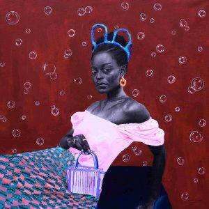 Olamide Ogunade, acrylic, charcoal, figurative