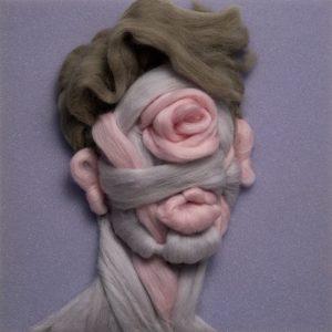 Salman Khoshroo, wool on foam portrait, conceptual